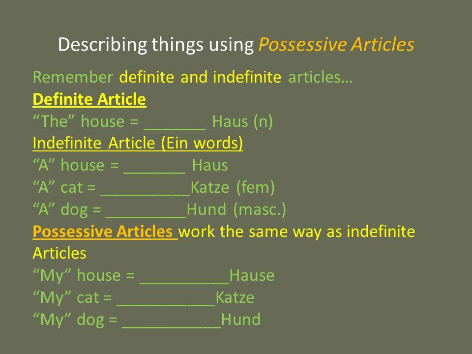 Possessive Articles MineYoursHisHersTheirsYours MeinDeinSeinIhr Euer