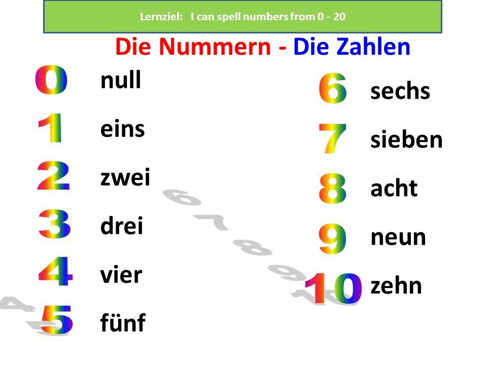 Die Nummern - Die Zahlen null eins zwei drei vier fünf sechs sieben acht neun zehn Lernziel: I can spell numbers from 0 - 20