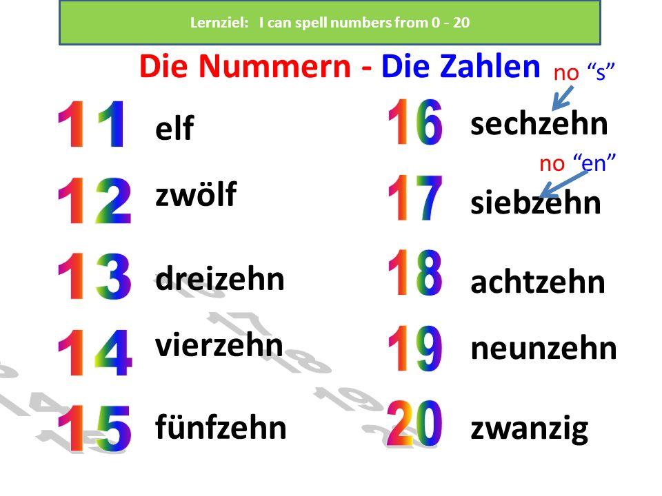 Die Nummern - Die Zahlen elf zwölf dreizehn vierzehn fünfzehn sechzehn siebzehn achtzehn neunzehn zwanzig no s no en Lernziel: I can spell numbers fro