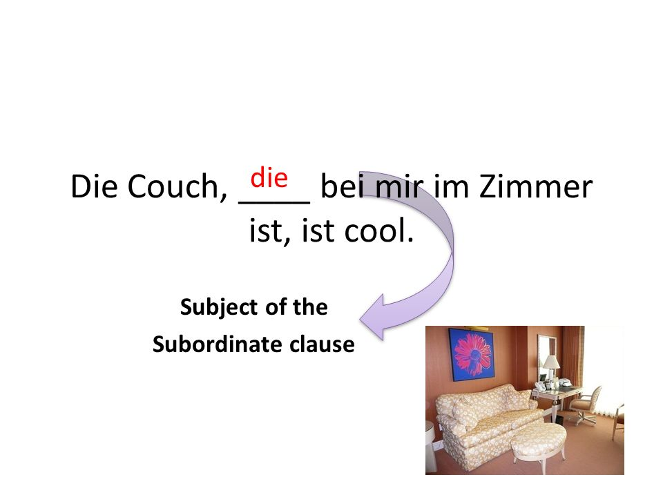 Die Couch, ____ bei mir im Zimmer ist, ist cool. die Subject of the Subordinate clause