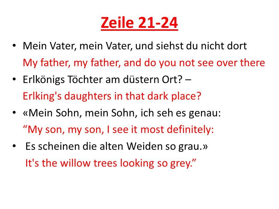 Zeile 21-24 Mein Vater, mein Vater, und siehst du nicht dort My father, my father, and do you not see over there Erlkönigs Töchter am düstern Ort? – E
