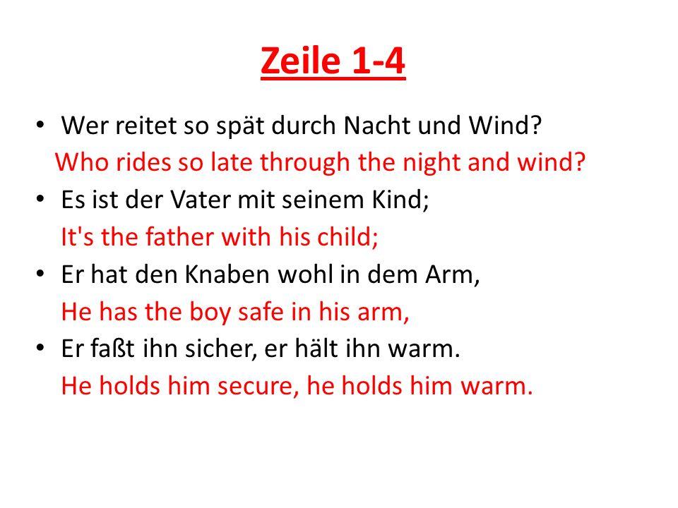 Zeile 1-4 Wer reitet so spät durch Nacht und Wind? Who rides so late through the night and wind? Es ist der Vater mit seinem Kind; It's the father wit