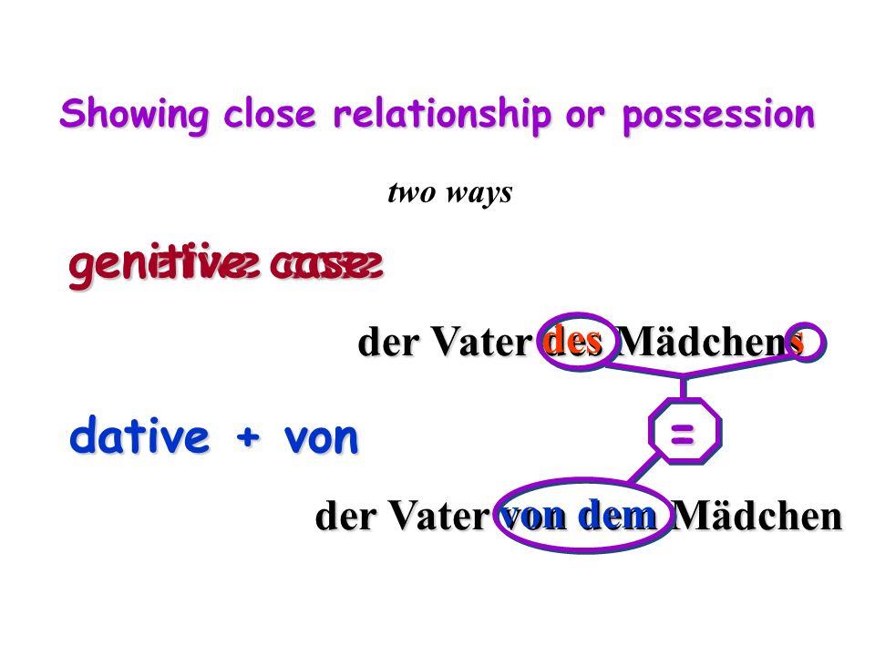 Showing close relationship or possession two ways genetive case dative + von genitive case dative + von der Vater des Mädchens der Vater von dem Mädchen des s von dem =