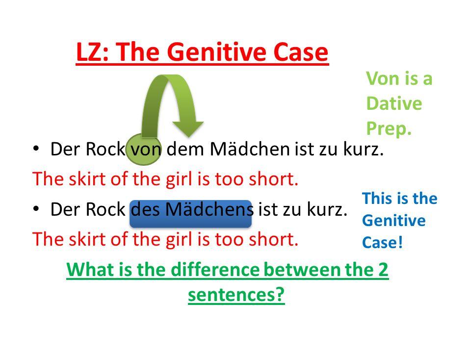 Der Rock von dem Mädchen ist zu kurz. The skirt of the girl is too short.