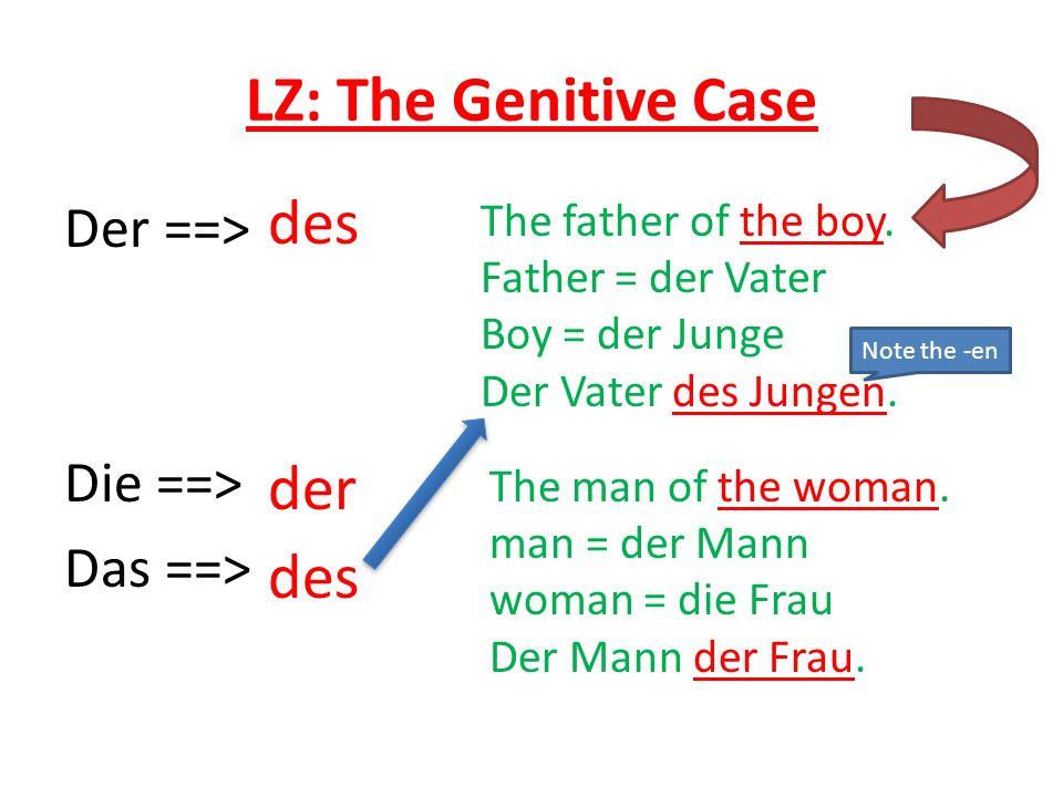 LZ: The Genitive Case Der ==> Die ==> Das ==> der des The father of the boy.