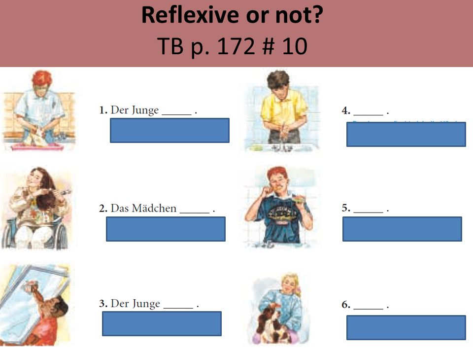 Reflexive or not? TB p. 172 # 10
