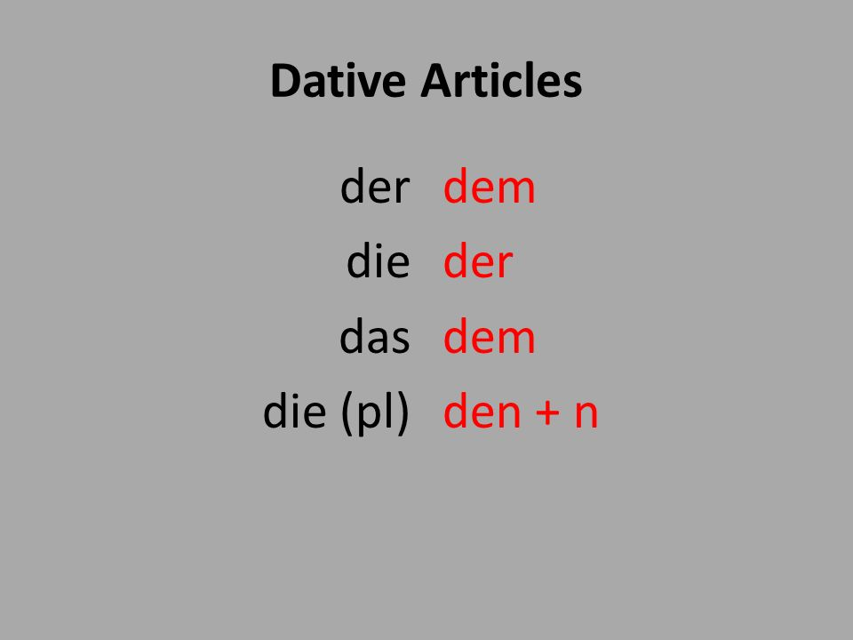Dative Articles der die das die (pl) dem der dem den + n