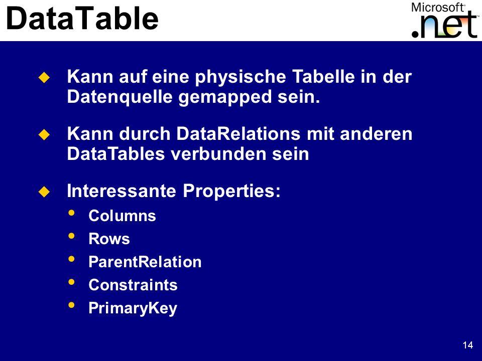15 DataSet und DataTable DataSet ds = new DataSet(); // Neues DataTable Objekt erzeugen DataTable dt= new DataTable( Abomodell ); // Spalten erzeugen und einfügen DataColumn dc = new DataColumn( AboID , Int32 ); dt.Columns.Add( dc ); dt.Columns.Add( Name , String ); dt.Columns.Add( Grundgebuehr , Currency ); dt.Columns.Add( Zeitgebuehr , Currency ); dt.Columns.Add( FreiStd , Int32 ); // DataTable Objekt in DataSet einfügen ds.Tables.Add( dt ); DataSet ds = new DataSet(); // Neues DataTable Objekt erzeugen DataTable dt= new DataTable( Abomodell ); // Spalten erzeugen und einfügen DataColumn dc = new DataColumn( AboID , Int32 ); dt.Columns.Add( dc ); dt.Columns.Add( Name , String ); dt.Columns.Add( Grundgebuehr , Currency ); dt.Columns.Add( Zeitgebuehr , Currency ); dt.Columns.Add( FreiStd , Int32 ); // DataTable Objekt in DataSet einfügen ds.Tables.Add( dt ); DataTable Objekt erzeugen und einfügen
