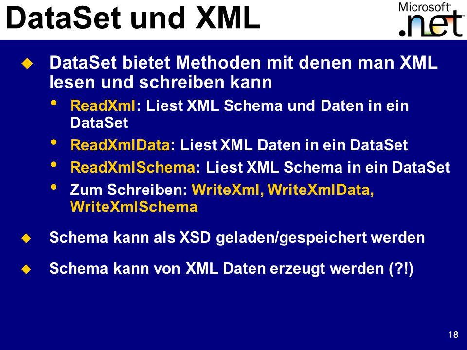 19 DataSet und XML Beispiel 3: XML Dateien schreiben/lesen