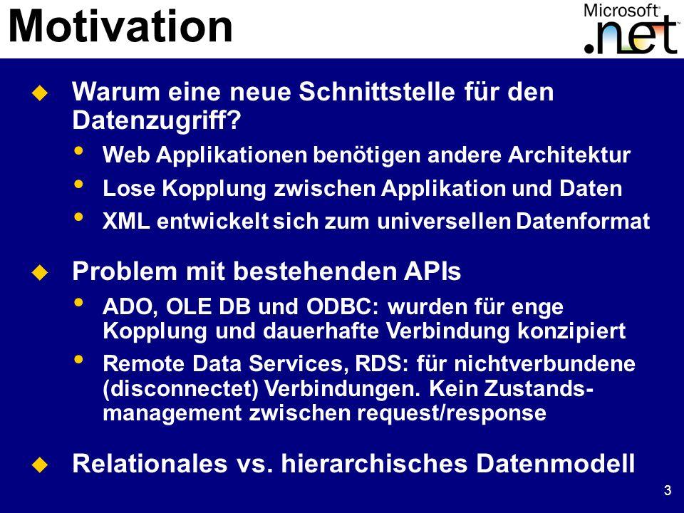 4 ADO.NET Objekt Modell Explizite Unterscheidung zwischen connected und disconnected Objekt Modell Managed Provider für connected Zugriff DataSet bietet Funktionalität für disconnected Datenobjekte