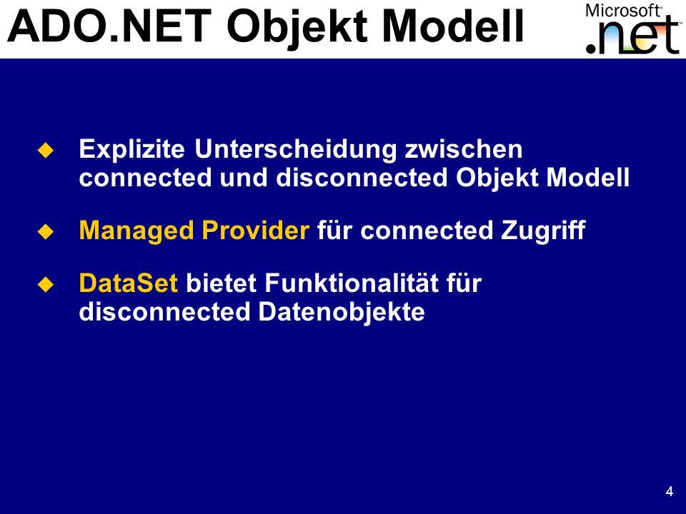 5 Managed Provider Klassen, die den Zugriff auf Datenquellen managen Connection: Herstellung einer Verbindung zur Datenquelle Command: Zum Ausführen der Befehle DataReader: Liefert die Ergebnisse einer Abfrage DataSetCommand: Verbindet das DataSet mit der Datenquelle Es gibt zwei Managed Provider ADO: Jeder OLE Datenbank (OLE DB) Provider.