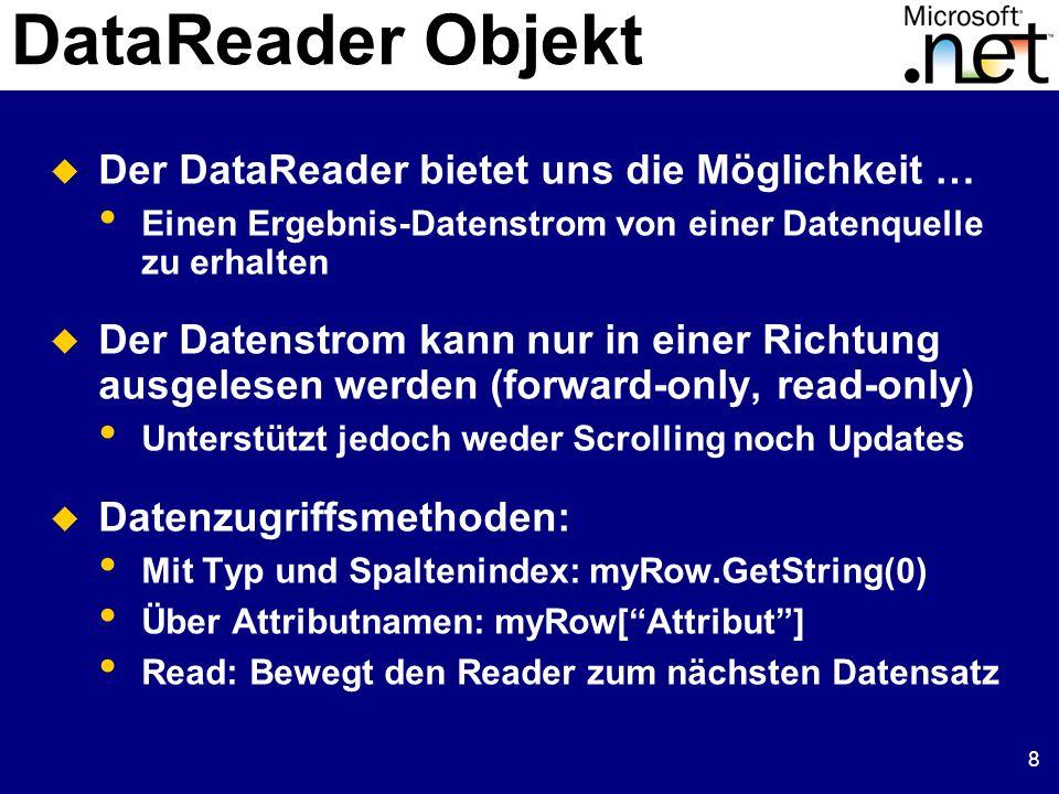 9 DataReader Beispiel 1: Internet Provider
