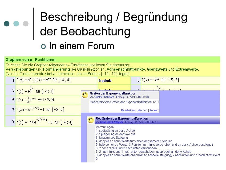 Beschreibung / Begründung der Beobachtung In einem Forum