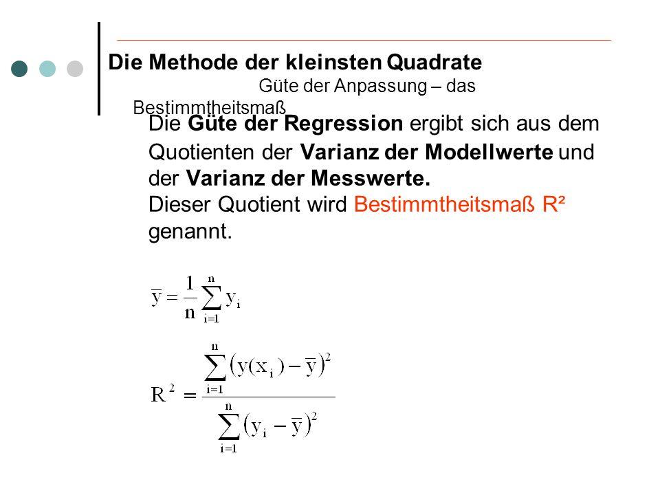 Die Güte der Regression ergibt sich aus dem Quotienten der Varianz der Modellwerte und der Varianz der Messwerte. Dieser Quotient wird Bestimmtheitsma