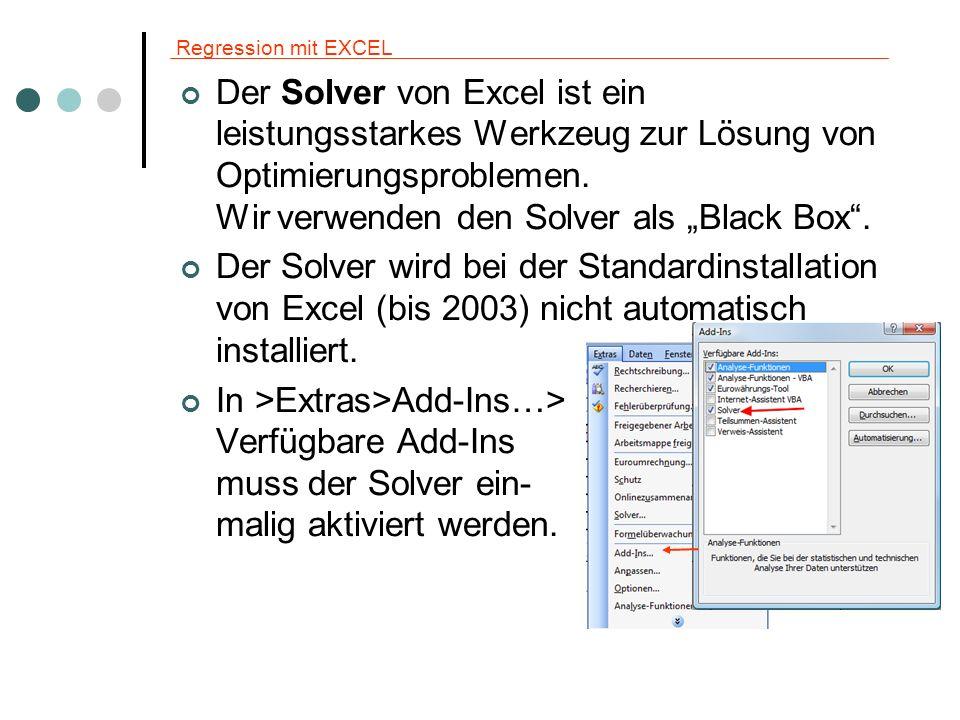 Regression mit EXCEL Der Solver von Excel ist ein leistungsstarkes Werkzeug zur Lösung von Optimierungsproblemen. Wir verwenden den Solver als Black B