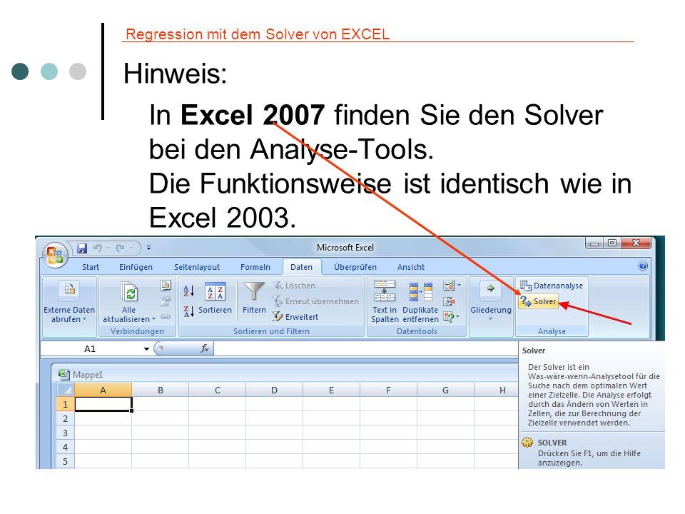 Regression mit dem Solver von EXCEL Hinweis: In Excel 2007 finden Sie den Solver bei den Analyse-Tools. Die Funktionsweise ist identisch wie in Excel