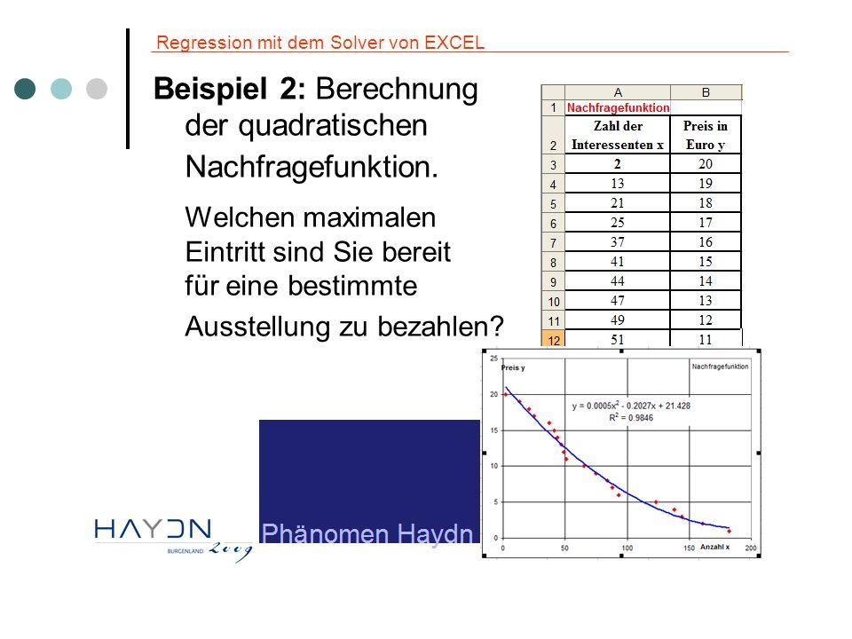 Regression mit dem Solver von EXCEL Beispiel 2: Berechnung der quadratischen Nachfragefunktion. Welchen maximalen Eintritt sind Sie bereit für eine be