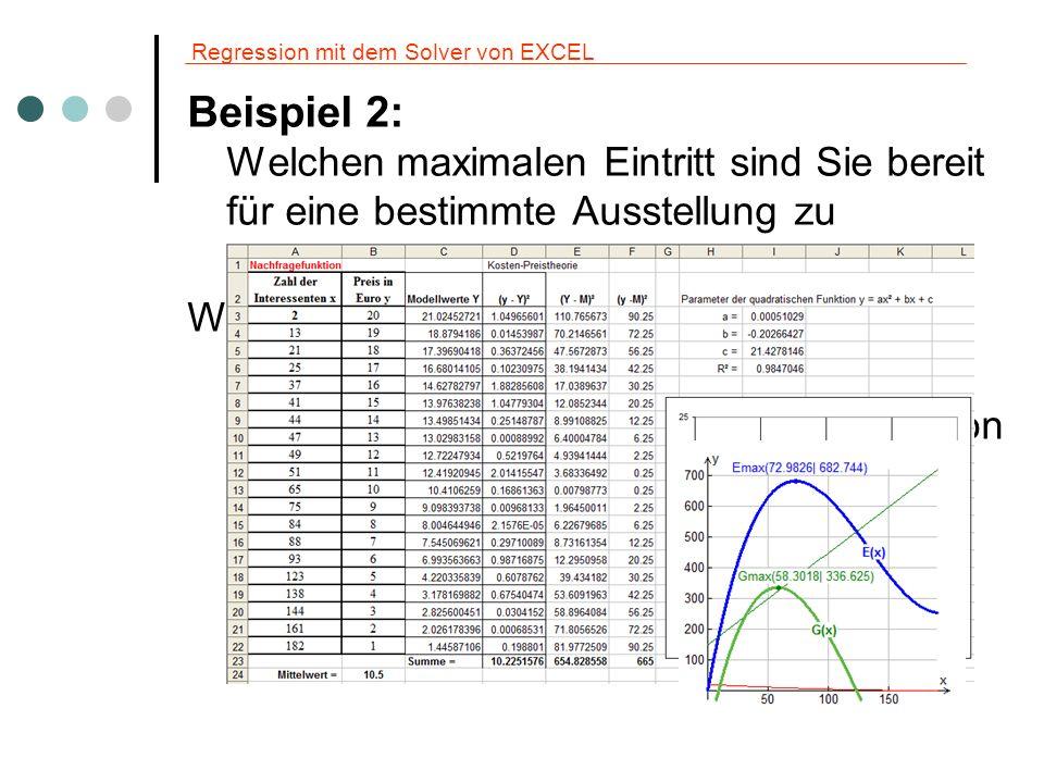 Regression mit dem Solver von EXCEL Beispiel 2: Welchen maximalen Eintritt sind Sie bereit für eine bestimmte Ausstellung zu bezahlen? Weiterführende
