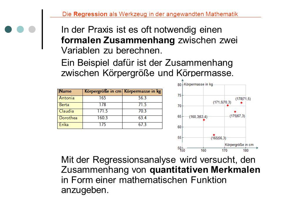 Die Regression als Werkzeug in der angewandten Mathematik In der Praxis ist es oft notwendig einen formalen Zusammenhang zwischen zwei Variablen zu be