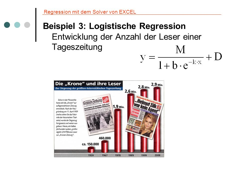 Regression mit dem Solver von EXCEL Beispiel 3: Logistische Regression Entwicklung der Anzahl der Leser einer Tageszeitung
