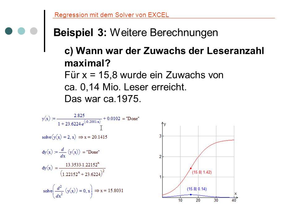 Regression mit dem Solver von EXCEL Beispiel 3: Weitere Berechnungen c) Wann war der Zuwachs der Leseranzahl maximal? Für x = 15,8 wurde ein Zuwachs v