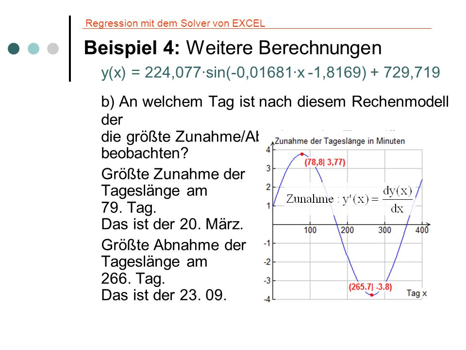 Regression mit dem Solver von EXCEL Beispiel 4: Weitere Berechnungen y(x) = 224,077·sin(-0,01681·x -1,8169) + 729,719 b) An welchem Tag ist nach diese