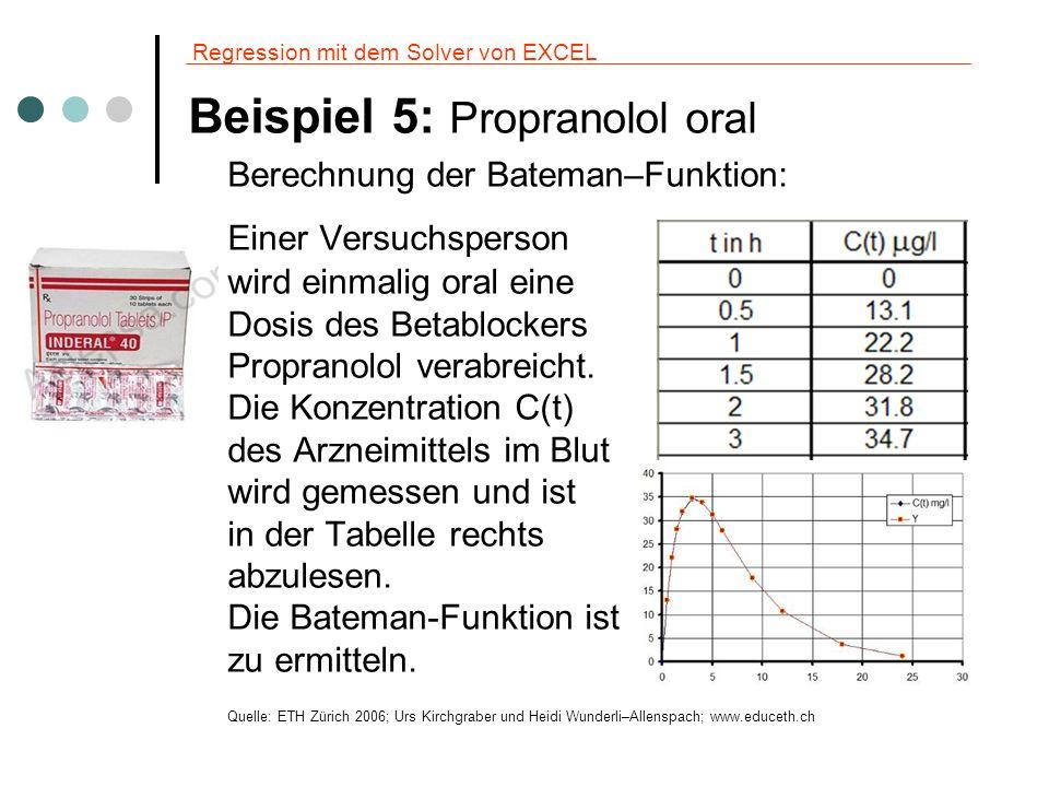 Regression mit dem Solver von EXCEL Beispiel 5: Propranolol oral Berechnung der Bateman–Funktion: Einer Versuchsperson wird einmalig oral eine Dosis d