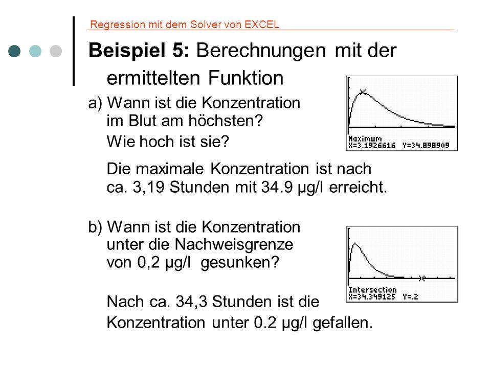 Regression mit dem Solver von EXCEL Beispiel 5: Berechnungen mit der ermittelten Funktion a) Wann ist die Konzentration im Blut am höchsten? Wie hoch