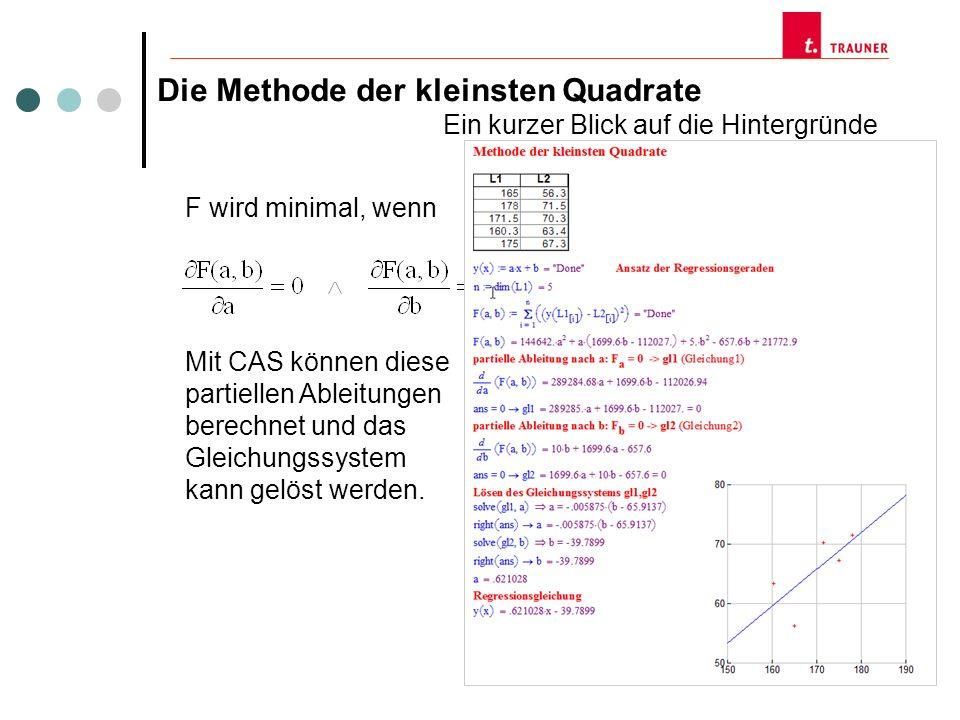 Die Methode der kleinsten Quadrate Ein kurzer Blick auf die Hintergründe F wird minimal, wenn Mit CAS können diese partiellen Ableitungen berechnet un