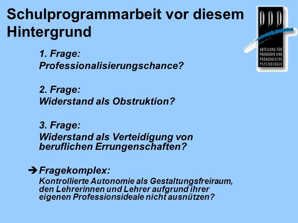Schulprogrammarbeit vor diesem Hintergrund 1. Frage: Professionalisierungschance? 2. Frage: Widerstand als Obstruktion? 3. Frage: Widerstand als Verte