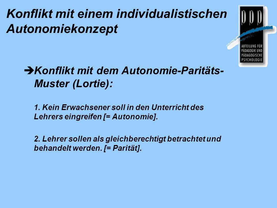 Konflikt mit einem individualistischen Autonomiekonzept Konflikt mit dem Autonomie-Paritäts- Muster (Lortie): 1. Kein Erwachsener soll in den Unterric