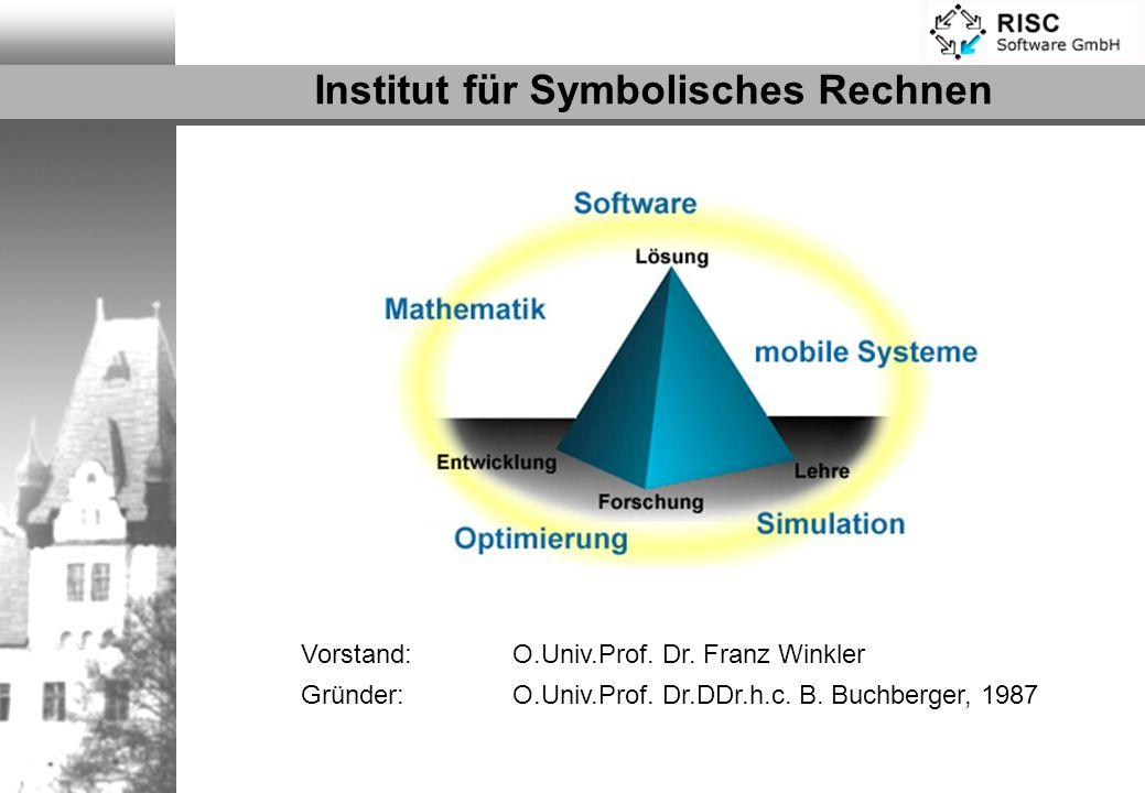 Vorstand: O.Univ.Prof. Dr. Franz Winkler Gründer: O.Univ.Prof. Dr.DDr.h.c. B. Buchberger, 1987 Institut für Symbolisches Rechnen