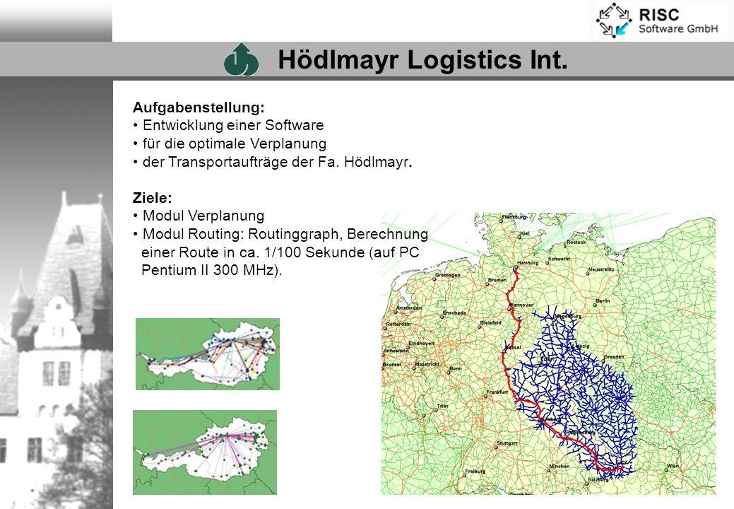 Aufgabenstellung: Entwicklung einer Software für die optimale Verplanung der Transportaufträge der Fa. Hödlmayr. Ziele: Modul Verplanung Modul Routing