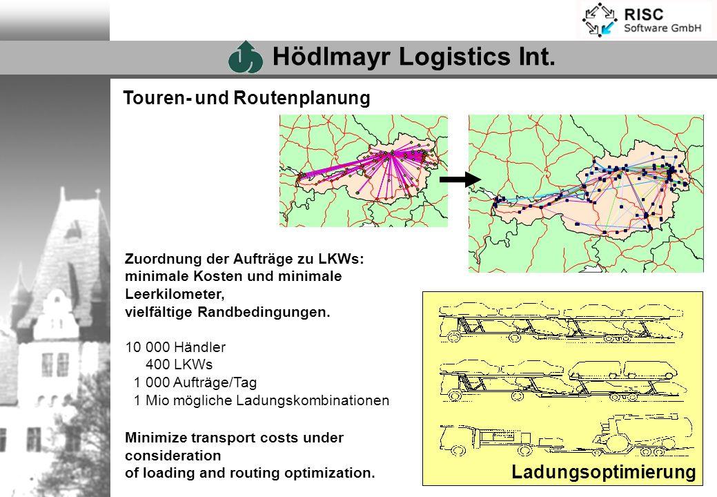 Touren- und Routenplanung Ladungsoptimierung Zuordnung der Aufträge zu LKWs: minimale Kosten und minimale Leerkilometer, vielfältige Randbedingungen.