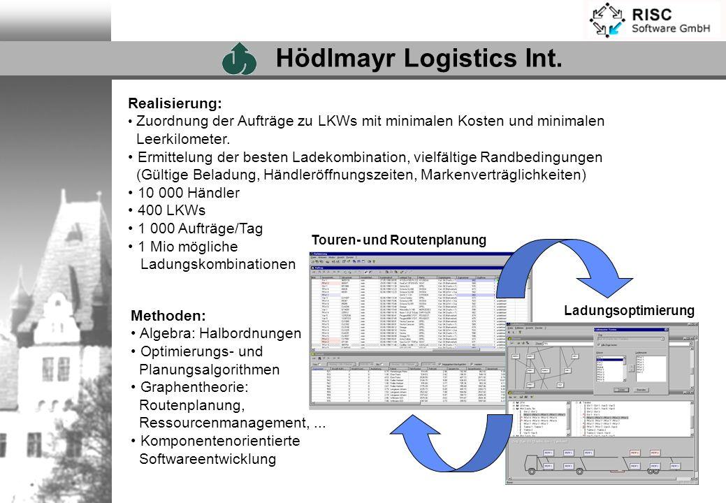 Realisierung: Zuordnung der Aufträge zu LKWs mit minimalen Kosten und minimalen Leerkilometer. Ermittelung der besten Ladekombination, vielfältige Ran