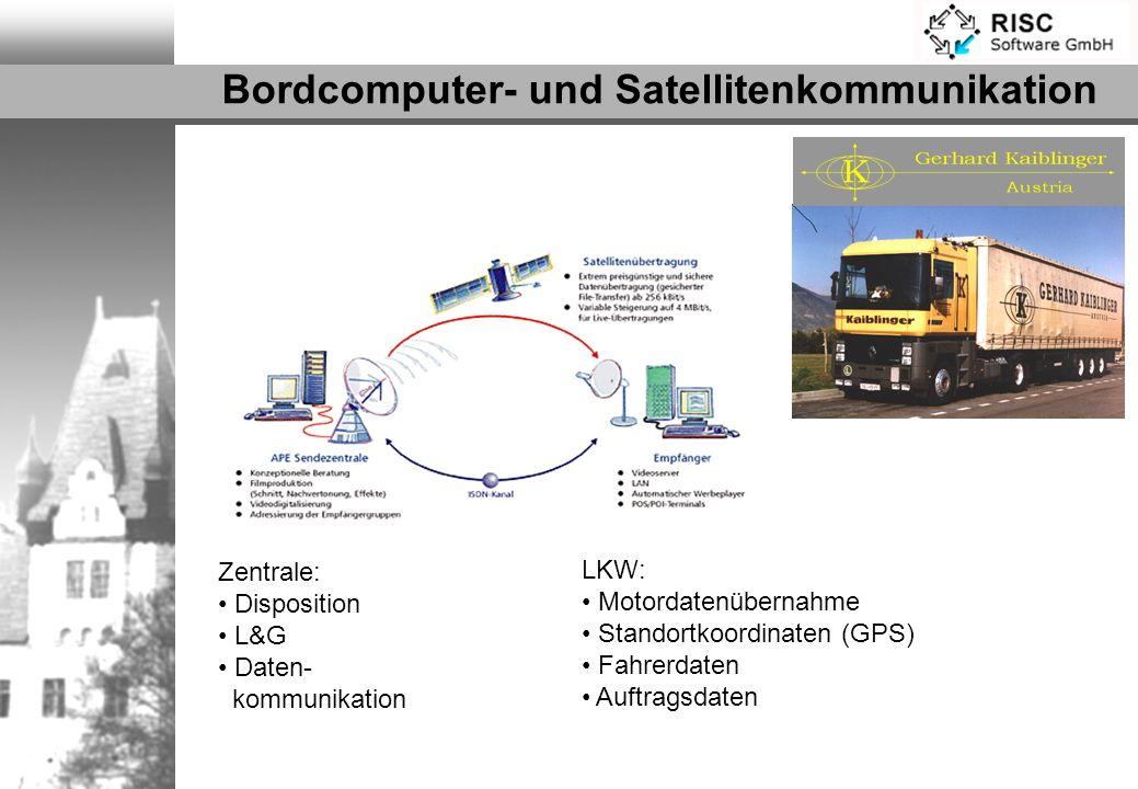 Zentrale: Disposition L&G Daten- kommunikation LKW: Motordatenübernahme Standortkoordinaten (GPS) Fahrerdaten Auftragsdaten Bordcomputer- und Satellit