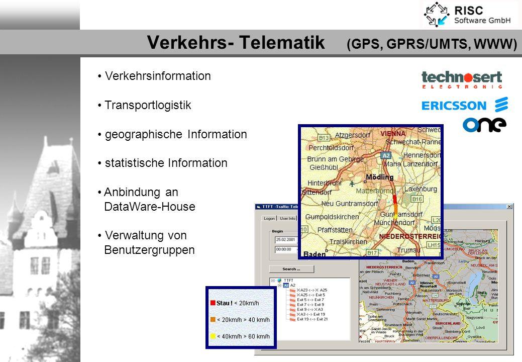 Verkehrsinformation Transportlogistik geographische Information statistische Information Anbindung an DataWare-House Verwaltung von Benutzergruppen Ve
