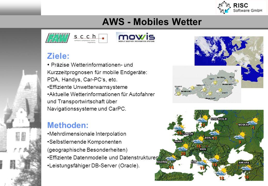 AWS - Mobiles Wetter Partner:MOWIS GmbH Ziele: Präzise Wetterinformationen- und Kurzzeitprognosen für mobile Endgeräte: PDA, Handys, Car-PCs, etc. Eff