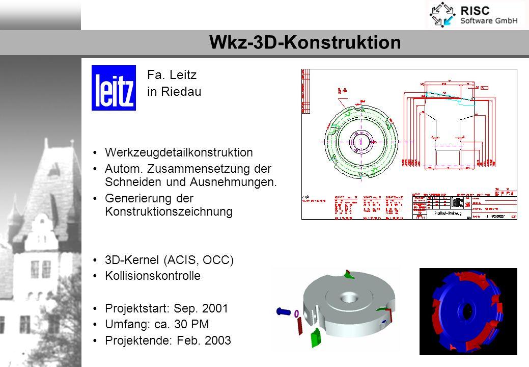 Wkz-3D-Konstruktion Werkzeugdetailkonstruktion Autom. Zusammensetzung der Schneiden und Ausnehmungen. Generierung der Konstruktionszeichnung 3D-Kernel