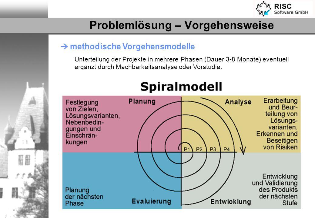 methodische Vorgehensmodelle Unterteilung der Projekte in mehrere Phasen (Dauer 3-8 Monate) eventuell ergänzt durch Machbarkeitsanalyse oder Vorstudie