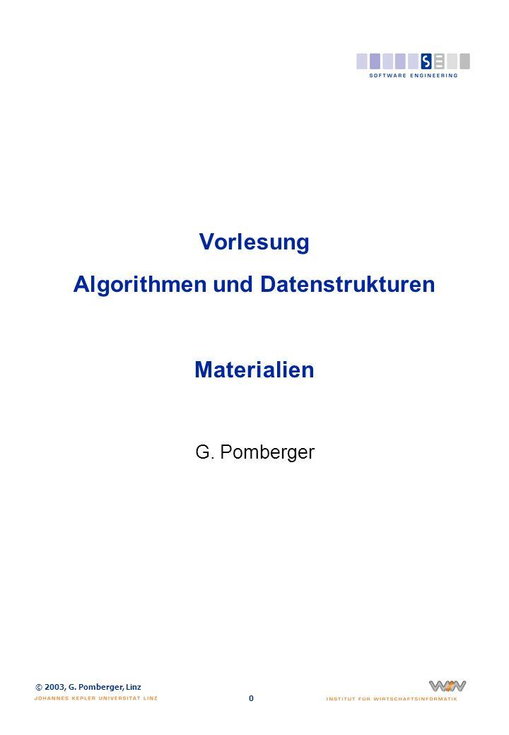 © 2003, G. Pomberger, Linz 0 Vorlesung Algorithmen und Datenstrukturen Materialien G. Pomberger
