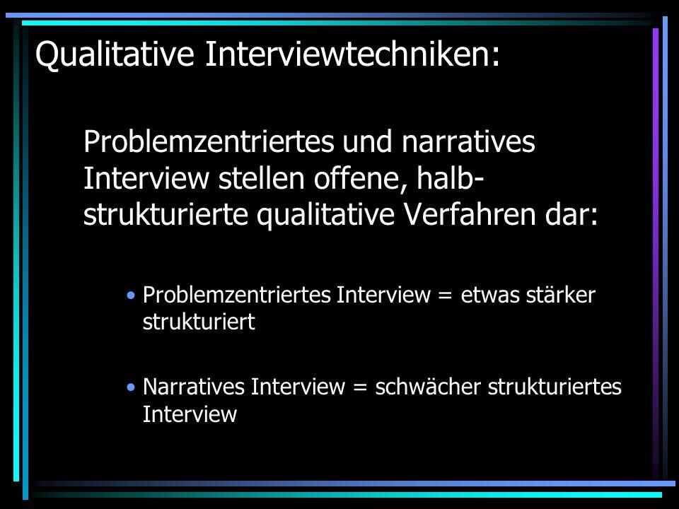 Begriffsbestimmung qualitativ orientierter Interviewformen: Offenes (vs.geschlossenes) Interview: bezieht sich auf die Freiheitsgrade des Befragten: Er kann frei antworten, ohne Antwortvorgaben, kann das formulieren, was ihm in bezug auf das Thema bedeutsam ist.