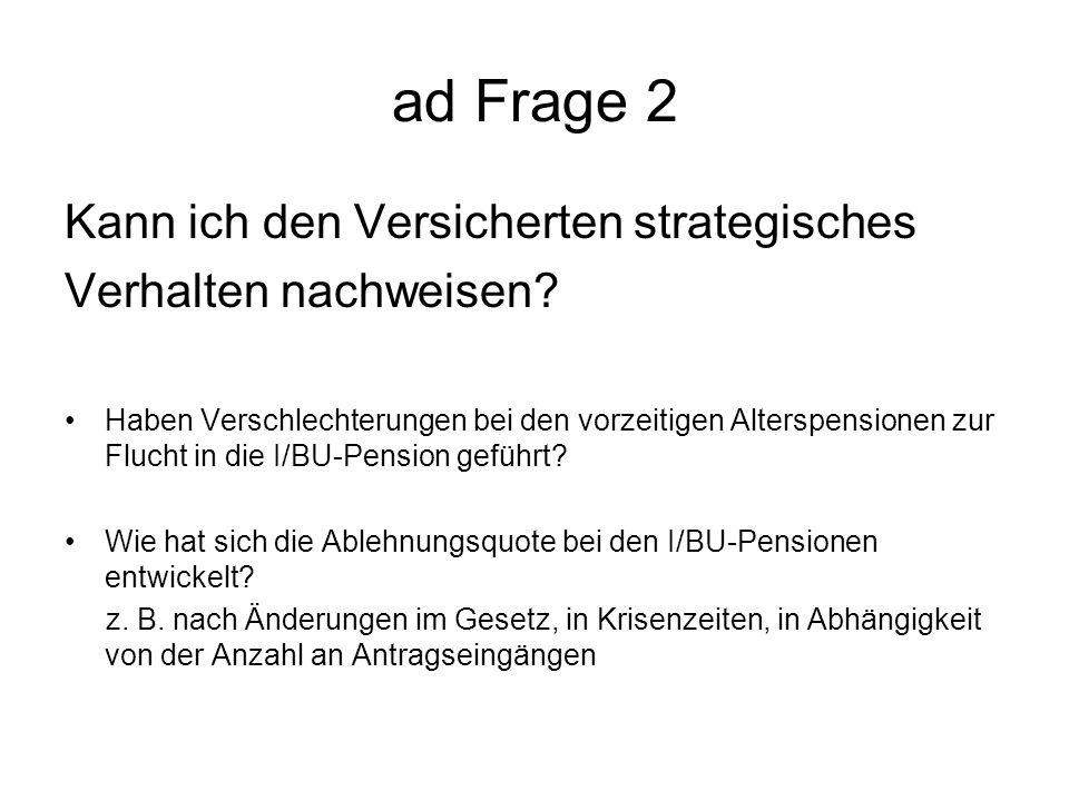 ad Frage 2 Kann ich den Versicherten strategisches Verhalten nachweisen.