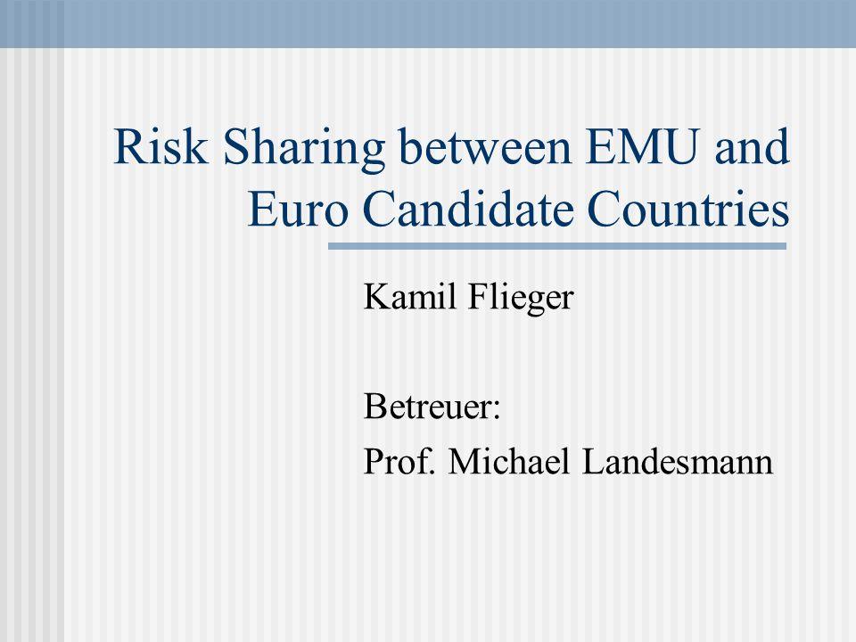 Schätzung von Risk Sharing – EMU Länder und Kandidatsländer Period 1970-1981Period 1982-1993Period 1994-2005 EMU 120.596*** (4,959)0.330*** (7,750)0,544*** (4,919) Candidate countries0.053*** (4,765) Candidate countries without Hungary0.315*** (3,902) Poor EMU members0,551*** (3,184)0,589** (2,451)0,549*** (3,291)
