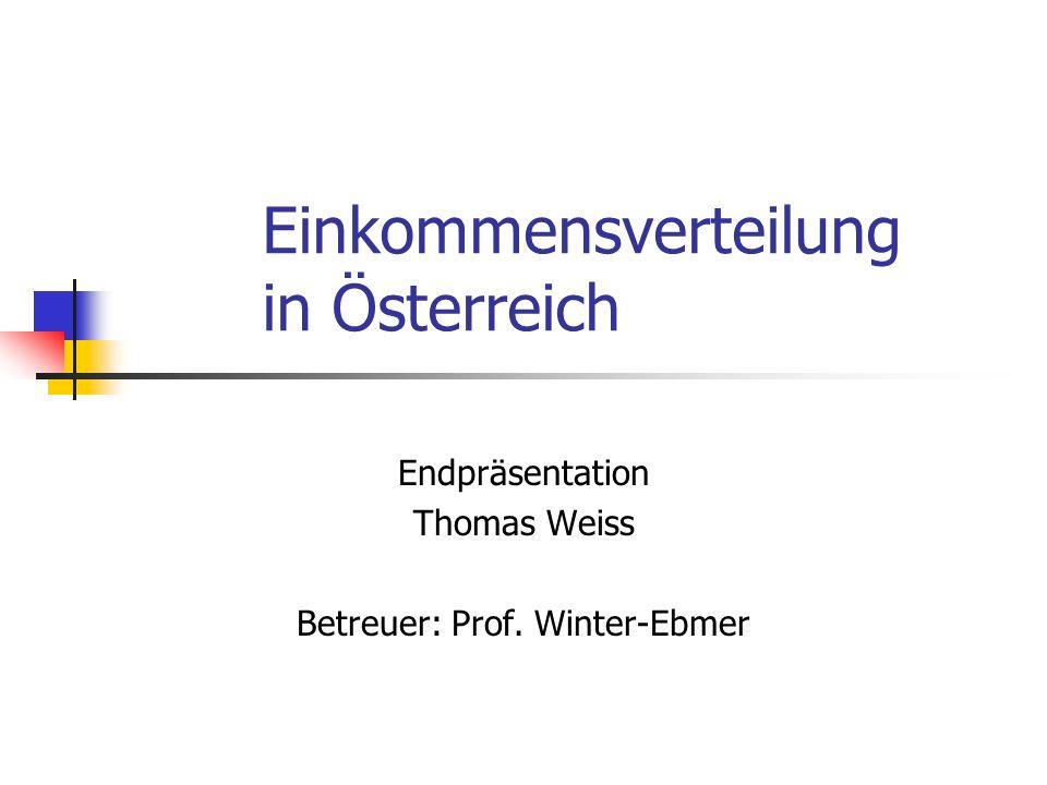 2 Forschungsfrage Darstellung der zeitliche Änderung der Einkommensverteilung an Hand der Daten des österreichischen Bundesministeriums für Finanzen und Vergleich mit anderen Quellen.