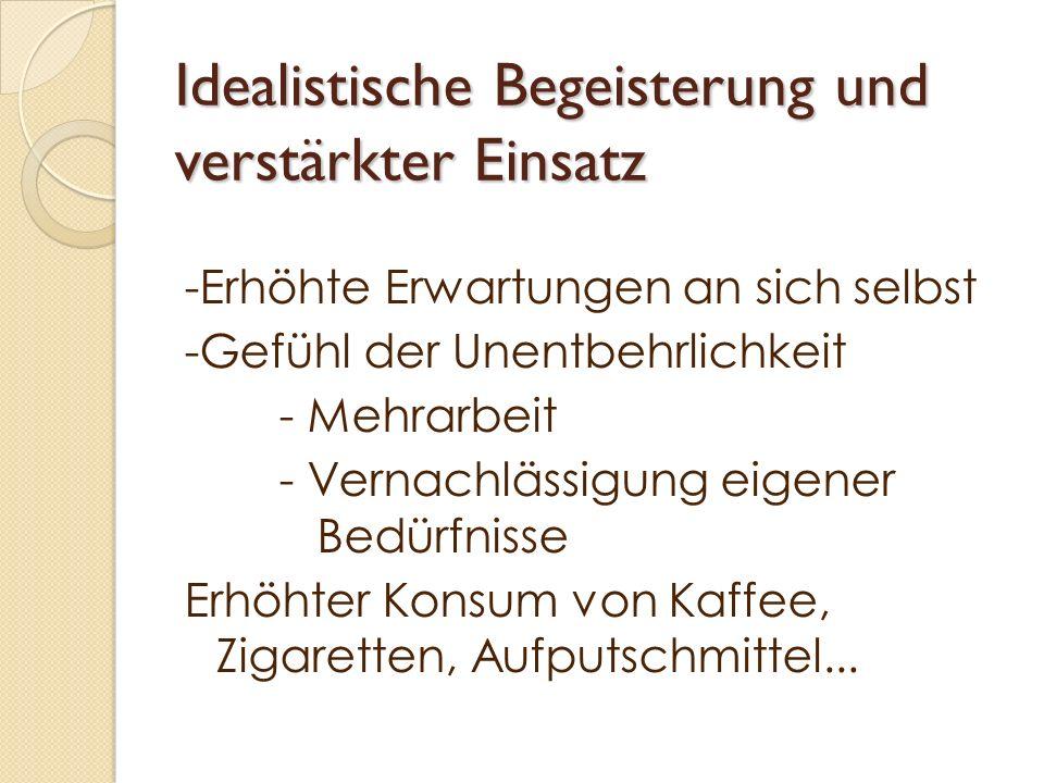 Idealistische Begeisterung und verstärkter Einsatz -Erhöhte Erwartungen an sich selbst -Gefühl der Unentbehrlichkeit - Mehrarbeit - Vernachlässigung e