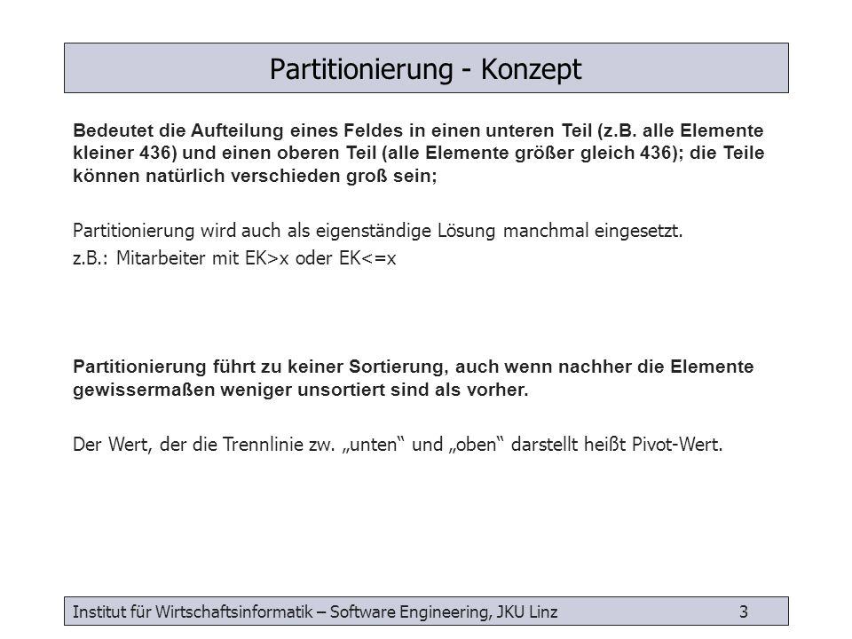 Institut für Wirtschaftsinformatik – Software Engineering, JKU Linz 3 Partitionierung - Konzept Bedeutet die Aufteilung eines Feldes in einen unteren
