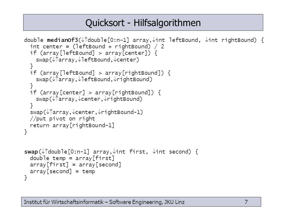 Institut für Wirtschaftsinformatik – Software Engineering, JKU Linz 8 int partitionIt( double[0:n-1] array, int leftBound, int rightBound, double pivot) { // pivot value stored at array[rightBound-1] int leftIndex = leftBound + 1 int rightIndex = rightBound - 2 while (true) { while (array[leftIndex] > pivot) {leftIndex++} while (array[rightIndex] < pivot) {rightIndex--} if (leftIndex >= rightIndex) {// finsh break } else {// swap swap( array, leftIndex, rightIndex) leftIndex++ rightIndex-- } swap( array, leftIndex, rightBound-1)// restore pivot value return leftIndex } Quicksort - Partitionierung