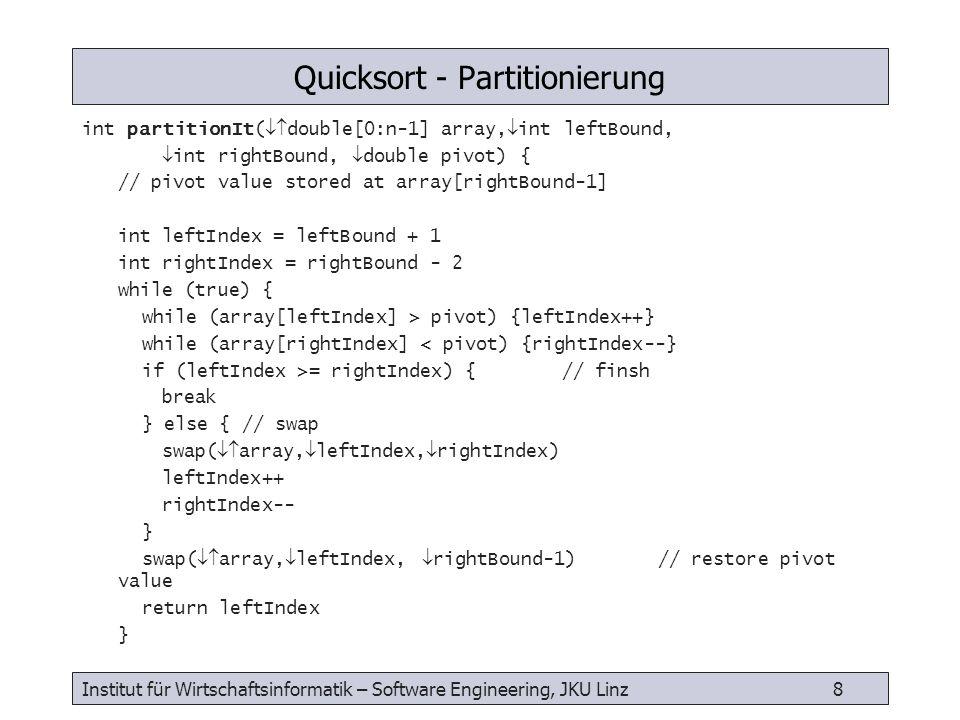 Institut für Wirtschaftsinformatik – Software Engineering, JKU Linz 9 recQuickSort( double[0:n-1] array, int leftBound, int rightBound) { int size = rightBound – leftBound + 1 if (size < 10) { insertionSort( array, leftBound, rightBound) } else { double median = medianOf3( array, leftBound, rightBound) int pivotIndex = partitionIt( array, leftBound, rightBound, median) recQuickSort( array, leftBound, pivotIndex-1) recQuickSort( array, pivotIndex+1, rightBound) } Quicksort - Verfahren