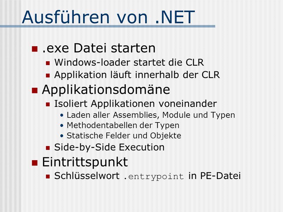 Ausführen von.NET.exe Datei starten Windows-loader startet die CLR Applikation läuft innerhalb der CLR Applikationsdomäne Isoliert Applikationen vonei